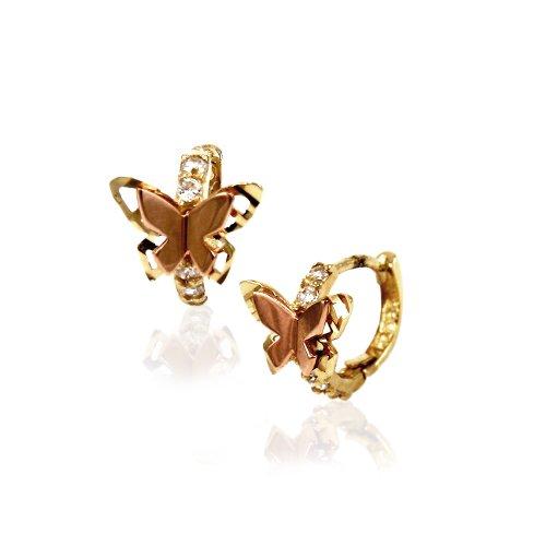 14k Two Tone Gold Butterfly CZ Helix Huggie Hoop Earrings