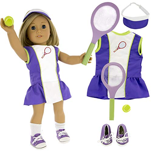 Tennis Sports Doll Outfit (6 Piece Set) - Clothes for American Girl & 18