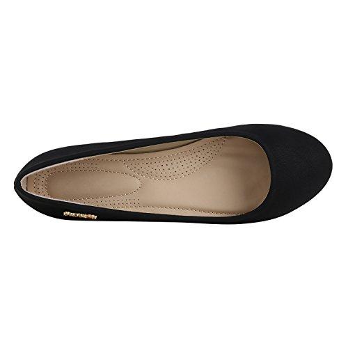 Stiefelparadies Klassische Damen Ballerinas Flats Leder-Optik Lack Metallic Schuhe Glitzer Slipper Slip Ons Übergrößen Abiball Flandell Schwarz Arriate