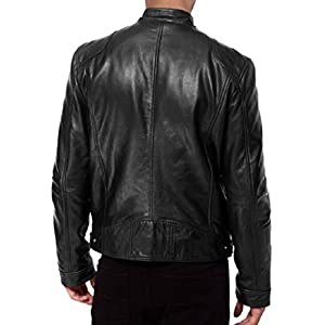 The Leather Factory Men's Sword Black Genuine Lambskin Leather Biker Jacket