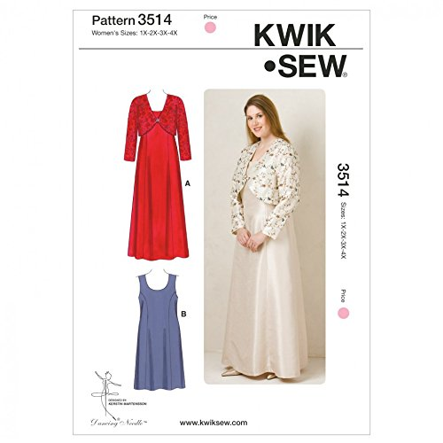 Bolero Sewing Pattern - Kwik Sew Ladies Plus Size Sewing Pattern 3514 Special Occasion Dresses & Bolero
