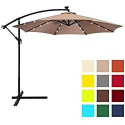 Best Choice Products 10ft Solar LED Patio Offset Umbrella w/Easy Tilt Adjustment