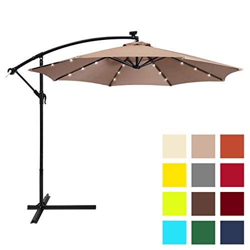 Best Choice Products 10ft Solar LED Offset Patio Umbrella w/Easy Tilt Adjustment - - Umbrella Outdoor