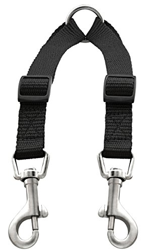 Caldwell's Pet Supply Co. No Tangle Dog Leash Coupler, Double Dog Walker - Trainer Leash - Two Dogs Adjustable Splitter Lead 1 X 11-20 Inches (Strong Super Collar Adjustable)