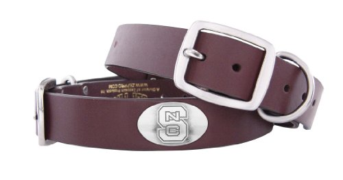 ZEP-PRO Brown Leather Concho Pet Collar, North Carolina State Wolfpack, Medium