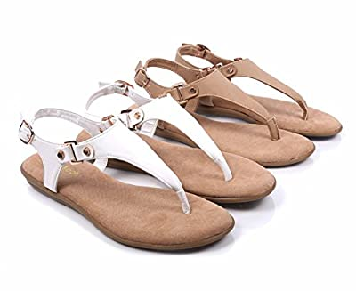 BAMBOO T-Strap Thong Slip-on Slingback Buckle Closure Fully Cushioned Footbed Sandals Shoes