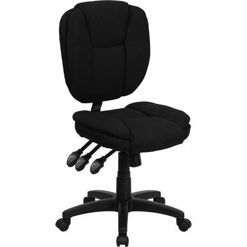 Parkside Mid-Back Black Fabric Multi-Functional Ergonomic Swivel Task Chair