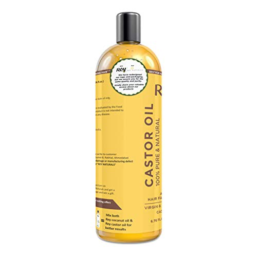 Rey Naturals Premium Cold Pressed Castor Oil - Pure & Virgin Grade - for Healthy Hair and Skin - 200 ML