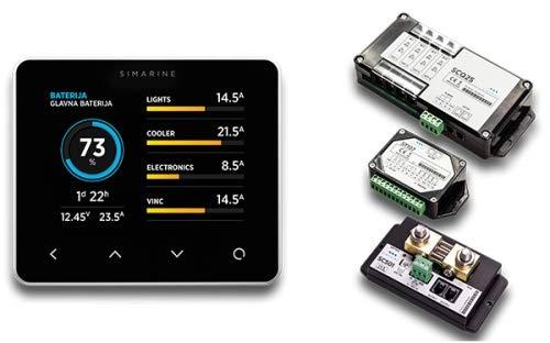 SIMARINE PICO Blue Package - Smart Marine and RV Battery Monitor + 500A Shunt + ST107 Tank Module + SCQ25 Quadro Shunt (Panel-Mount, Black)