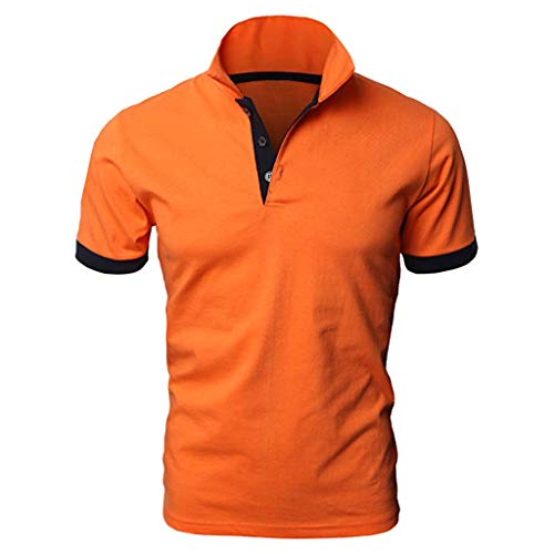 Polo Shirts for Men Short Sleeve Shirts Casual Dress Shirts Stitching Two-Color Pullovers Tee Blouse Top Orange ()