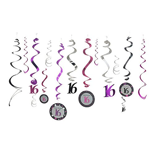 PROPARTY 16 Foil Ceiling Hanging Swirl Decorations Party Streamers for 16th Birthday Anniversary Party Decorations 24 Counts -