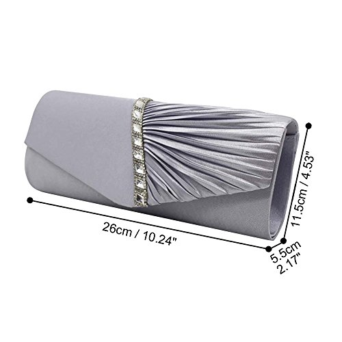 Silver Prom Bridal Brand Wocharm Evening Handbag New Clutch Wedding Womens Ladies Satin Bag Elegant Pleated Party w0ZqAv0
