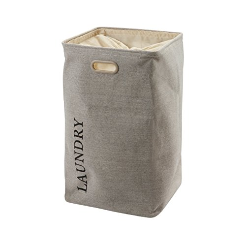 Nova Bath Collection Evora Hamper Laundry Basket with Carry Handles and Removable Washable Liner (Flax)