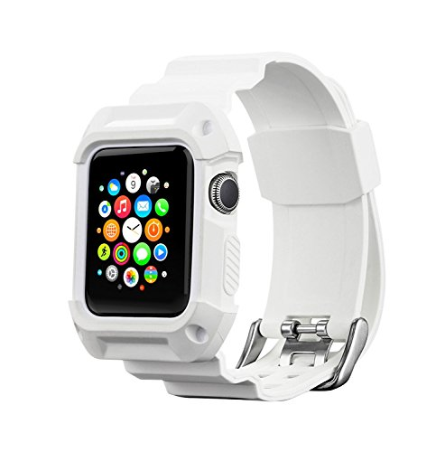 Compatible with Apple Watch Band with Case 38mm, MAIRUI Rugged Protective G Shock Replacement Wristband for Apple Watch Series 3/2/1, iWatch Nike+/Sport/Edition (White)