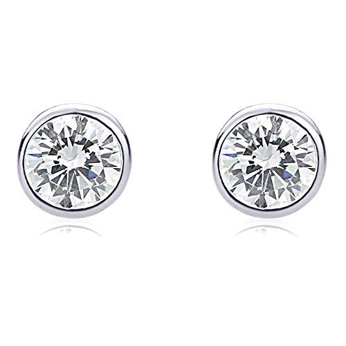 14K White Gold Round CZ Martini Setting Bezel Stud Earrings (6mm, ()