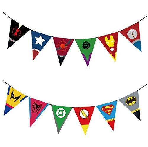 Superhero Comic Party Supplies Set For 16-Banner, Suckers, Cupcake kit, Plates, Napkins, Cups, Plastic Cutlery, Tablecloth (214 pieces) ()