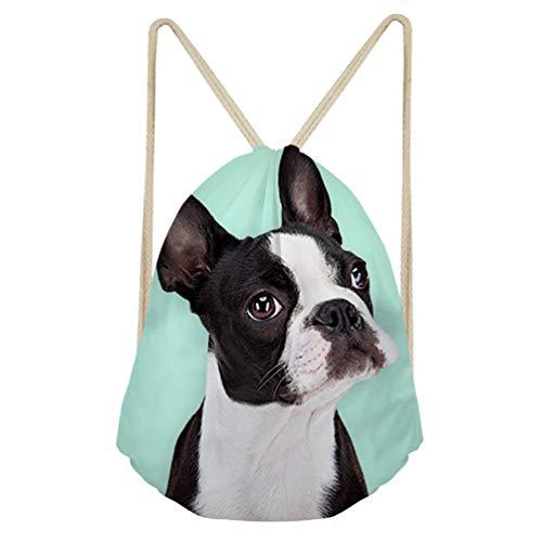 (Upetstory Drawstring Sports Backpack Gym Sack Swimming Sackpack Lovely Boston Terrier Pattern Dance Pouch for Kids Boys Girls)