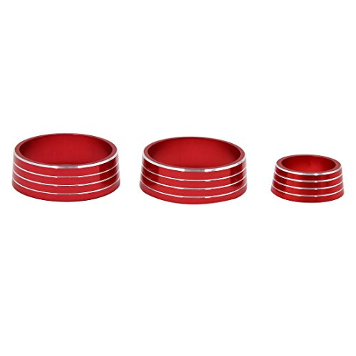 uxcell 3pcs Red Air Condition Audio Switch Decorative Ring Set for Honda City XRV by uxcell (Image #2)