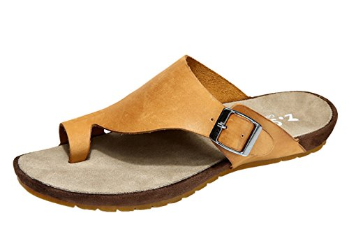 DQQ Mens Crazy Horse Leather Thong Sandal Yellow