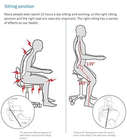 ZHJING Ergonomique Chaise à Genoux Hauteur Ajustable Genoux Chaise De Bureau Ergonomique Chaise en Cuir PU Siège Orthopédique Tabouret avec Le Dos Et Poignée