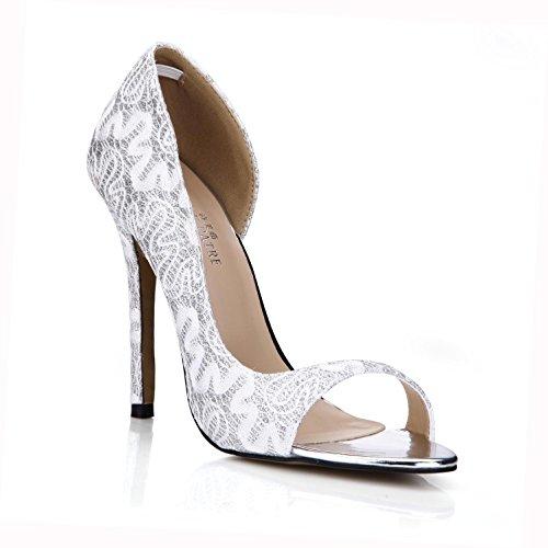 Best 4U® Sandalias de encaje transpirable de verano para mujer Bombas Básicas Zapatos de tacón alto de goma 12CM de tacón alto con suela redonda de oro blanco , Blanco , EU35