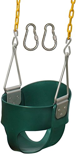 Jungle Gym Kingdom High Back Full Bucket Toddler Swing Seat Heavy Duty Chain - Swing Set Accessories - Green with Locking Snap Hooks (Swing Outside Hanger)