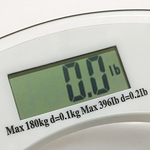 Apontus Digital Bathroom Scale Glass Silver Body Weight Scale 400 Lbs 180 Kg Capacity Round