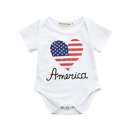 ❤Ywoow❤❤ , Newborn Toddler Baby Girls Boys Stars Striped Romper 4th of July Clothes ()