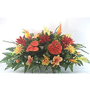 R46 Lily and Mum Cemetery Flower Arrangement, Headstone Saddle, Grave, Tombstone Arrangement, Cemetery Flowers 97