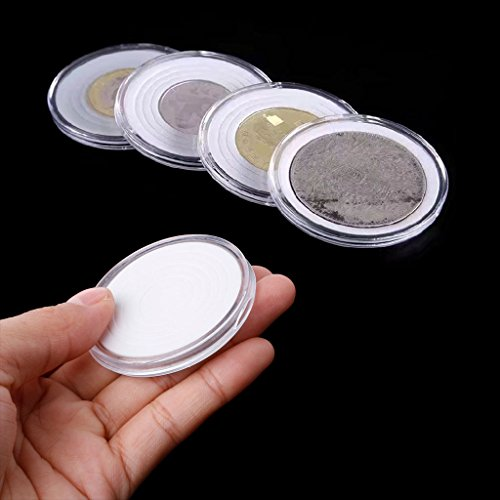 Hacloser 46mm Plastic Coin Holder Capsule Storage Case Display Box with 5 Sizes Pad Rings