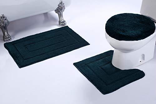 (Luxury Home Collection 3 Piece Microfiber Bathroom Rug Set Non-Slip Bathroom Rug Contour, Mat and Toilet Lid #673 (Hunter Green, 3 PCE)