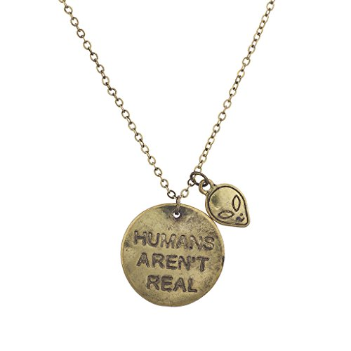 Lux Accessories Boho Gold Human Aren't Real Verbiage Charm Pendant Necklace