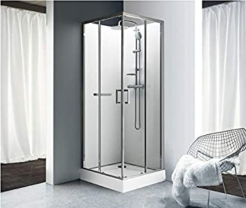 Leda – Cabina de ducha kara cuadrado puertas correderas cristal transparente 90 x 90 cm – l11ka8 C0201: Amazon.es: Bricolaje y herramientas