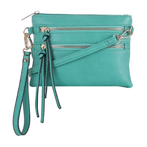 Everyday Multi-Pocket Crossbody Bags for women with Removable Wristlet and Strap | Teal
