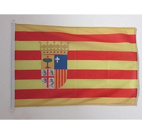 AZ FLAG Bandera Nautica de ARAGÓN 45x30cm - Pabellón de conveniencia ARAGONESA 30 x 45 cm Anillos: Amazon.es: Hogar