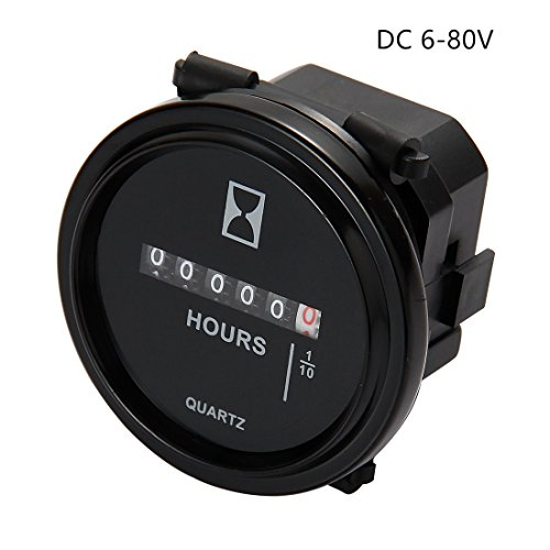 AIMILAR Mechanical Hour Meter Gauge Professional Engine Hourmeter DC 6-80V for Boat Auto ATV UTV Snowmobile Lawn Tractors Generators (DC6-80V)