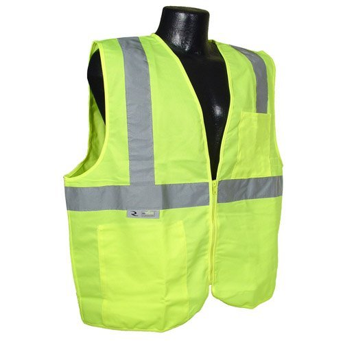 Radians 2 Pockets High Visibility Neon Green Zipper Front Safety Vest with Reflective Strips - Meets Ansi/isea Standards, Size Small by Radians