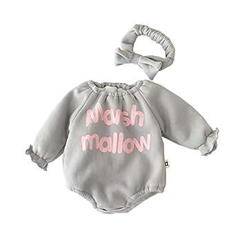 Xifamniy Infant Babies Romper Letter Print Plus Velvet Long Sleeve Jumpsuit&Headband Gray