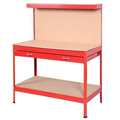 Goplus Steel Workbench Tool Storage Work Bench Workshop Tools Table W/ Drawer and Peg Board,Red by Goplus (Image #6)