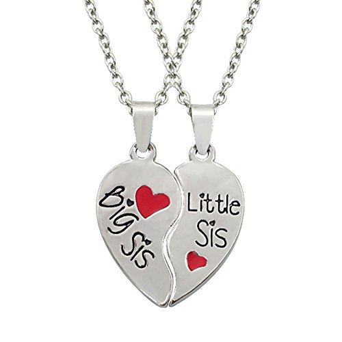 MayLove Big Sis Little Sis Necklace for 2 Broken Heart Best Sister Forever Jewelry Engraved Pendant Gift