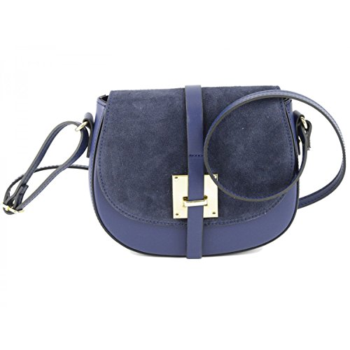 Borsa A Spalla In Vera Pelle Colore Blu - Pelletteria Toscana Made In Italy - Borsa Donna
