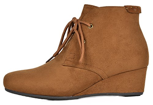 Low DREAM TOWERR Ramona Booties Heel Women's PAIRS camel Wedge Ankle OWt6wr6Bq8