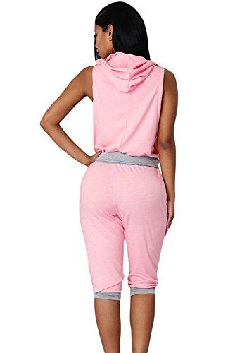 Pink & Grau Sexy Rogue Sweat Hose Set 2-teilig Leggings Pants Set Club tragen Casual Kleidung tragen, Leggings Party Größe UK 8�?0EU 36�?8