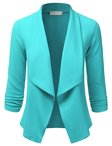 - EIMIN Women's Lightweight Stretch 3/4 Sleeve Blazer Open Front Jacket Aqua S