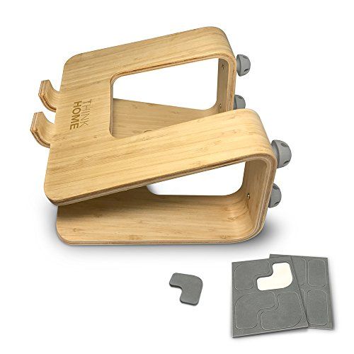 Think Home Ergonomic Bamboo Laptop Stand with Cable & Wire Organizer and Management System (Rubber Cable Holder, & Clips) by Think Home (Image #7)