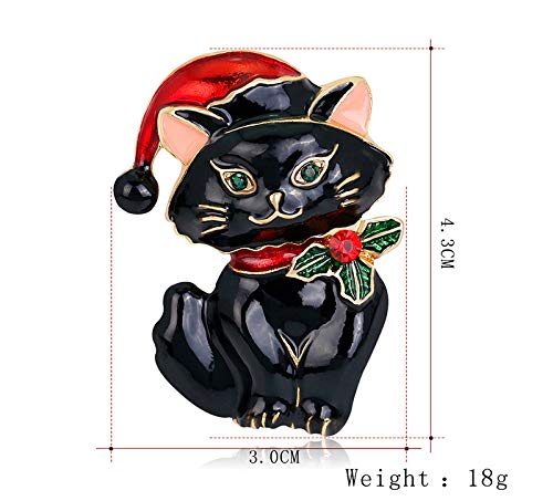 Dwcly Vintage Cat Brooch Enamel Holiday Christmas Xmas Cat Kitty Santa Hat Brooch Pin