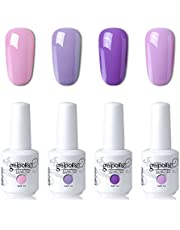 Elite99 UV LED Gel Nail Polish Varnish 15ML Soak off Nail Art Manicure Set 4 Colors with (20pcs Gel Remover Wraps) C102