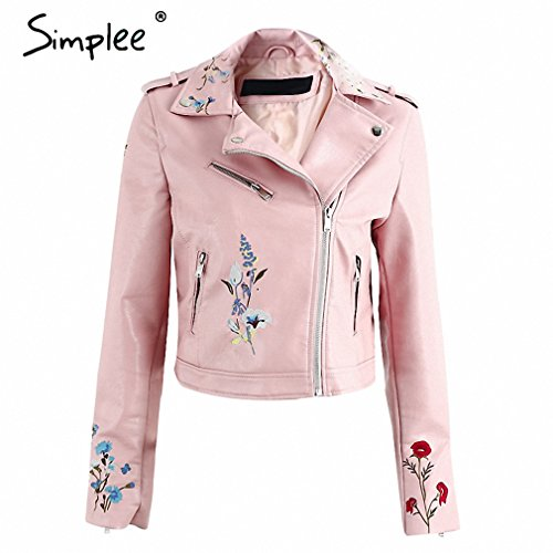 Embroidery black leather jacket women Zipper motorcycle faux leather coat Winter biker jacket outerwear & coats Pink S