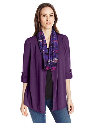 - Notations Women's 3/4 Sleeve Cozy Cardigan with Solid Knit Inset and Printed Scarf, Heliostripe, S