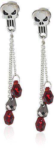 Marvel Comics Punisher Crystal Bead Dangle Earrings Officially Licensed by MARVEL + Comic Con Exclusive